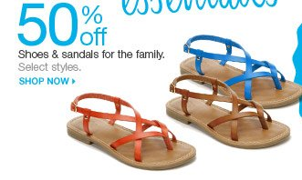 50% off Sandals & shoes for the family. Select styles. Shop now