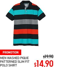 MEN WASHED PIQUE PATTEREND SLIM FIT POLO SHIRT