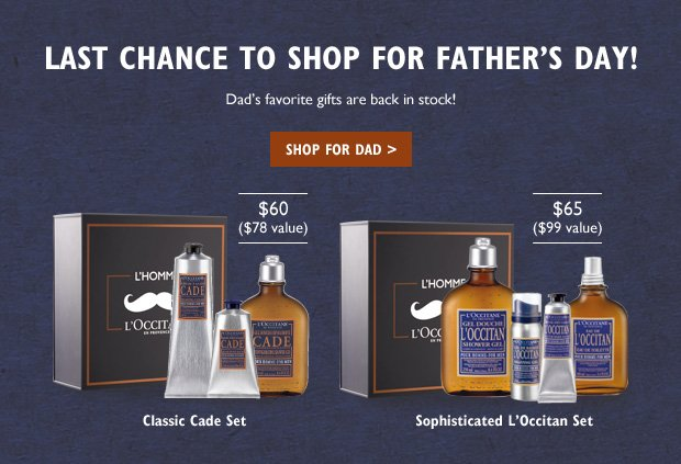 Last Chance to Shop for Father's Day!  Dad's favorite gifts are back in stock!