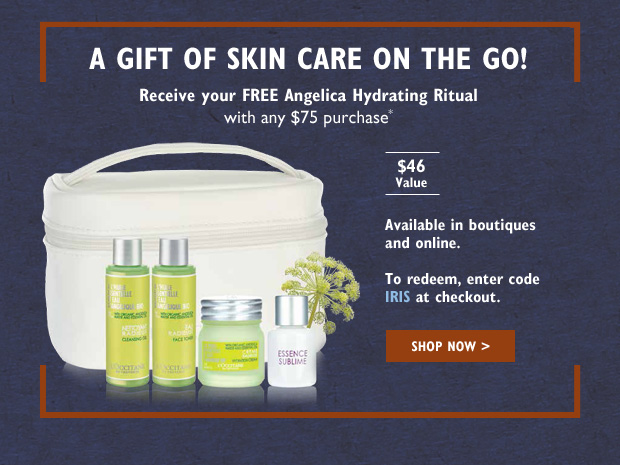 Receive your FREE Angelica Hydrating Ritual with your $75 purchase* $46 value.  Available in boutiques and online.  To redeem, enter code IRIS at checkout.