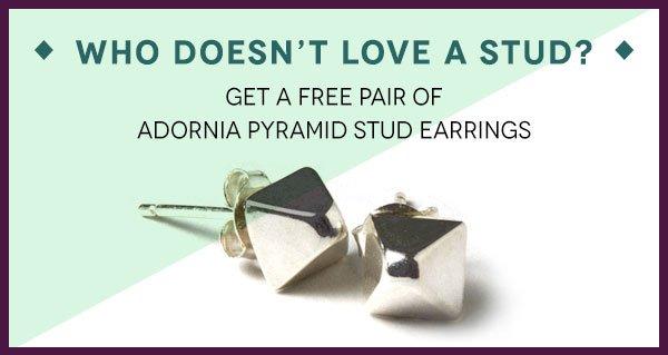 Free Pair of Adornia Pyramid Stud Earrings