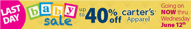Last Day to save up to 40% off Carter's Apparel