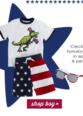 Check out the hometown parade in appliques & patchwork! Shop Boy!