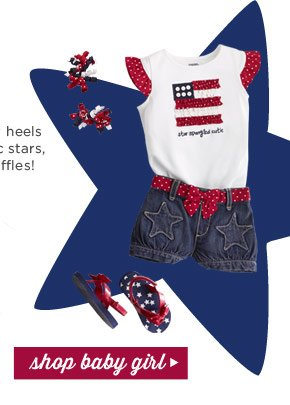 Kick up your heels with patriotic stars, stripes & ruffles! Shop Baby Girl