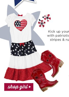 Kick up your heels with patriotic stars, stripes & ruffles! Shop Girl