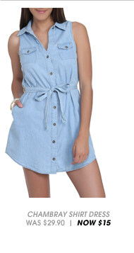 Shop Chambray Tie Waist Shirt Dress