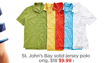St. John's Bay solid jersey polo orig. $18 $9.99 ›