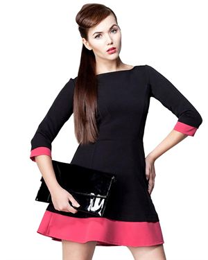 Awamoda Color Block Flared Dress Made In Europe