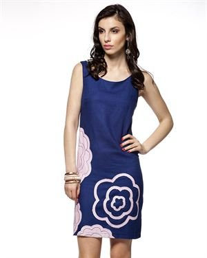L Adore Flower Embellished Two-Tone Sleeveless Dress Made In Europe