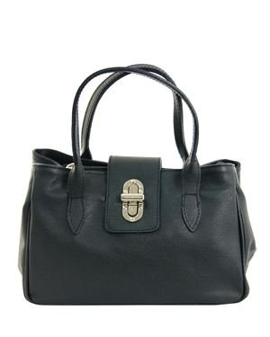 EA Solid Color Leather Satchel Made in Italy