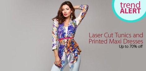 aser cut tunics and printed maxi dresses
