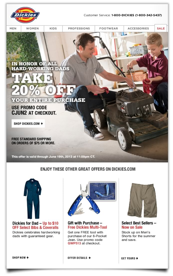 Shop Dickies.com for all your workwear needs, and take 20% off your entire purchase. Plus, enjoy Free Standard Shipping on orders of $75 or more. Enter promo code CJUN2 at checkout to receive your discount. Offer expires June 19th, 2013.