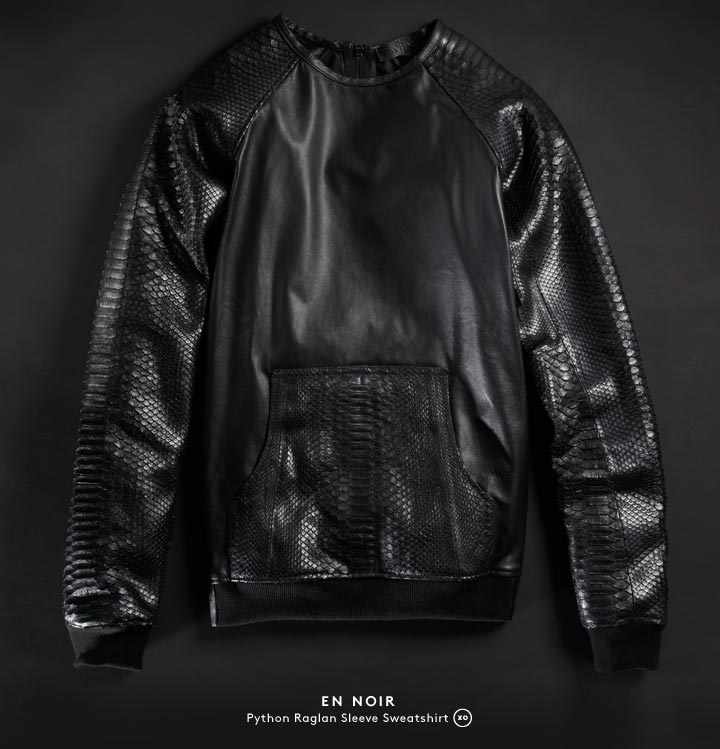 Leather man: Introducing En Noir, immaculately tailored leather pieces for men by designer Rob Garcia.