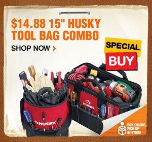 $14.88 15 inch Husky Tool Bag Combo
