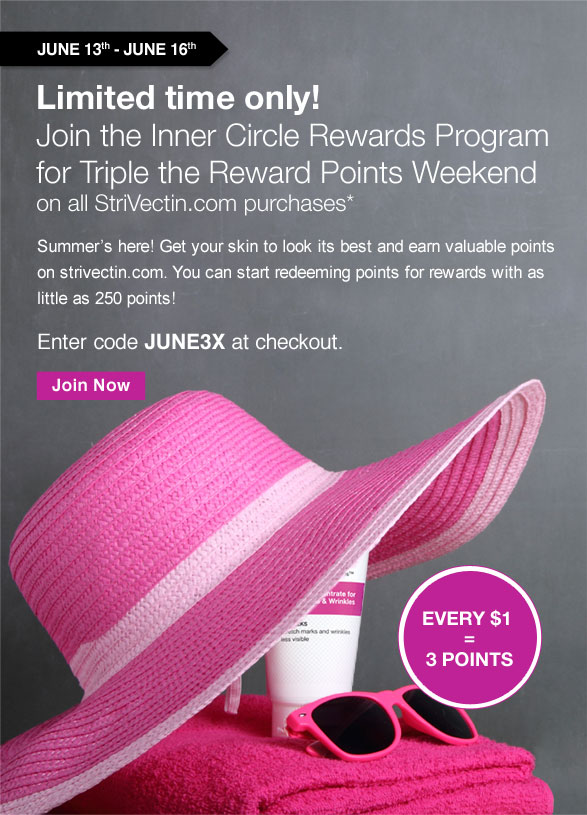 Limited time only! Join the Inner Circle Rewards Program for Triple the Reward Points Weekend on all StriVectin.com purchases