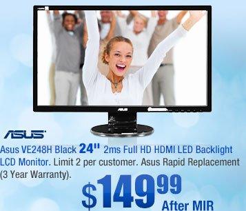 "Asus VE248H Black 24"" 2ms Full HD HDMI LED Backlight LCD Monitor"