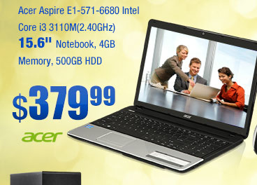 "Acer Aspire E1-571-6680 Intel Core i3 3110M(2.40GHz) 15.6"" Notebook, 4GB Memory, 500GB HDD"