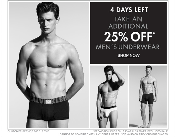 4 DAYS LEFT TAKE AN ADDITIONAL 25% OFF* MEN'S UNDERWEAR SHOP NOW
