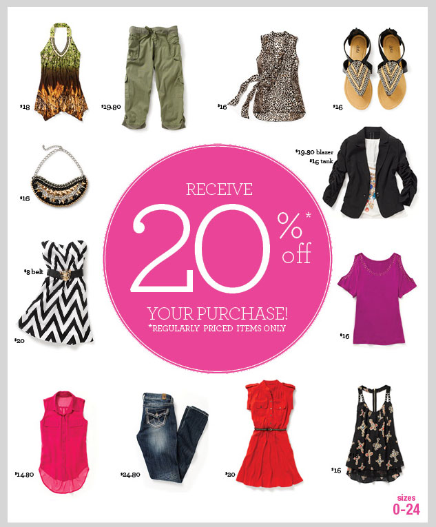 RECEIVE 20% OFF YOUR PURCHASE! Regularly priced items only. SHOP NOW!