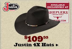 Justin 4X Hats on Sale