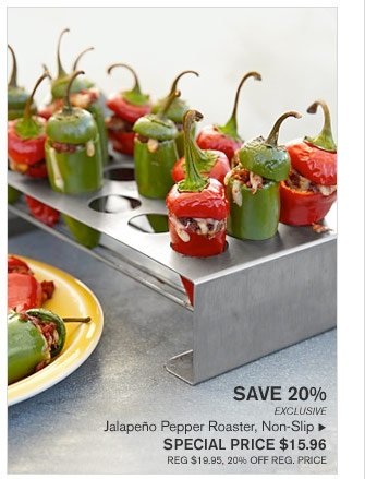 SAVE 20% - EXCLUSIVE - Jalapeño Pepper Roaster, Non-Slip - SPECIAL PRICE $15.96 (REG $19.95, 20% OFF REG. PRICE)