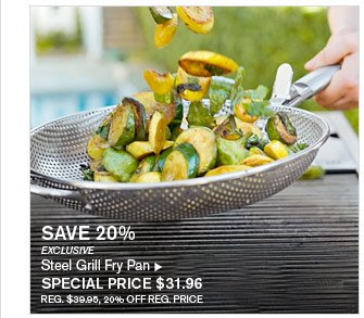 SAVE 20% - EXCLUSIVE - Steel Grill Fry Pan - SPECIAL PRICE $31.96 (REG. $39.95, 20% OFF REG. PRICE)