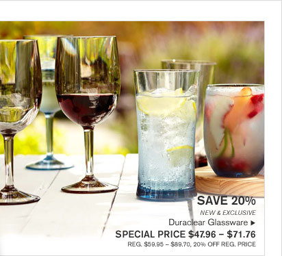 SAVE 20% - NEW & EXCLUSIVE Duraclear Glassware - SPECIAL PRICE $47.96 - $71.76 (REG. $59.95 - $89.70, 20% OFF REG. PRICE)