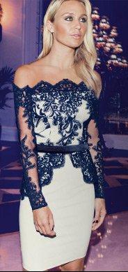 V I P Long Sleeve Lace Peplum Dress