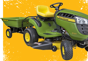 John Deere Dump Cart and D100 Series Riding Lawn Mower