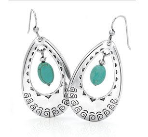 Santa Fe turquoise french wire earrings