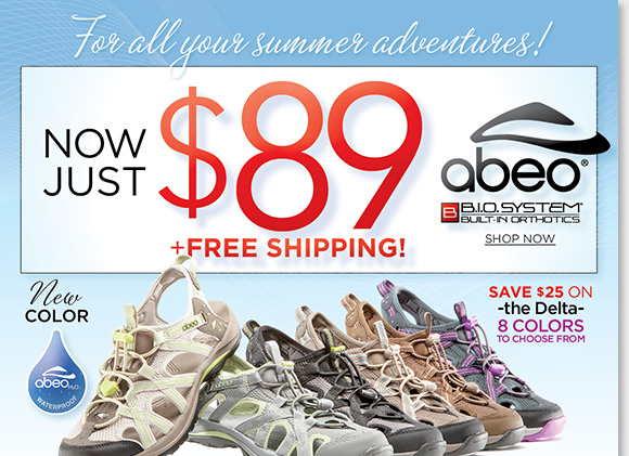 Enjoy your summer adventures in the ABEO B.I.O.system 'Delta' waterproof sandals in 8 great colors! Experience the revolutionary custom 3-D fit comfort of B.I.O.system technology featuring built-in orthotics. Enjoy FREE Shipping when you shop now at The Walking Company.