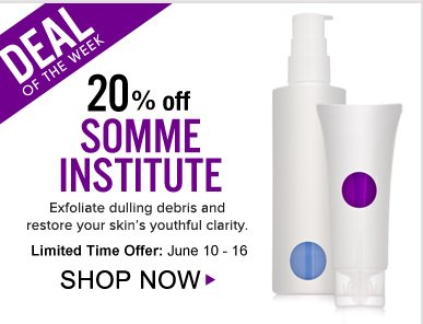 Deal of the Week: Save 20% on Somme Institute  Reverse the signs of aging with these intensely hydrating and restorative products—now 20% off! Shop Now>>