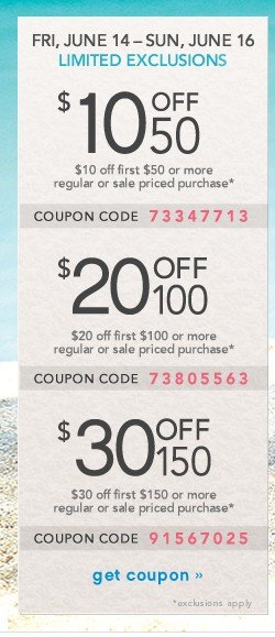 Extra $10 off $50, $20 off $100, $30 off $150. Get coupon.