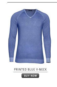 Printed Blue V-Neck