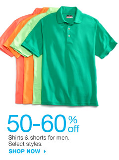 50-60% off  Shirts & shorts for men. Select styles. SHOP NOW