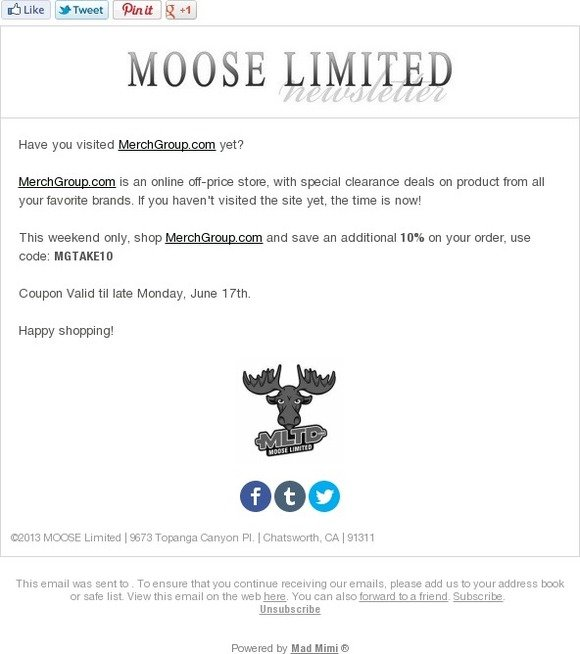 Coupons moose limited