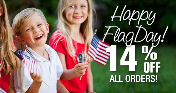 Happy Flag Day! 14% off all orders!