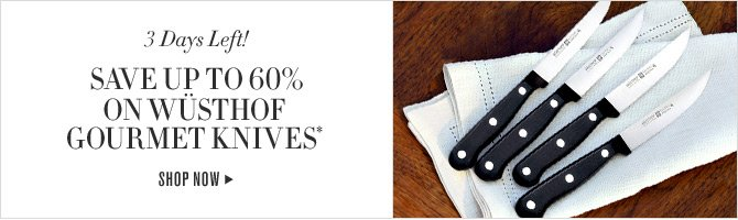3 Days Left! SAVE UP TO 60% ON WÜSTHOF GOURMET KNIVES* - SHOP NOW