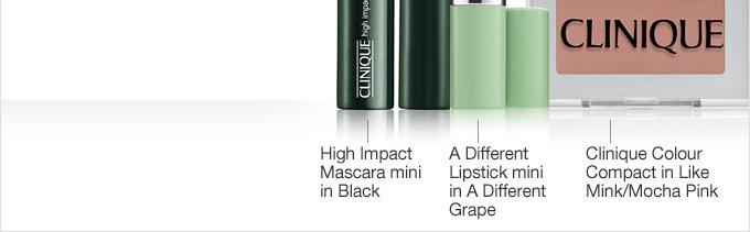 A Different Lipstick mini in A Different Grape. High Impact Mascara mini in Black. Clinique Colour Compact in Like Mink/Mocha Pink.
