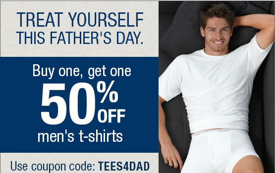 Treat yourself this Father's Day. Buy one get one 50% off Men's T-shirts