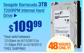 $109.99 -- Seagate Barracuda 3TB 7200RPM Internal Hard Drive