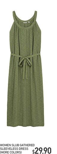 WOMEN SLUB GATHERED DRESS