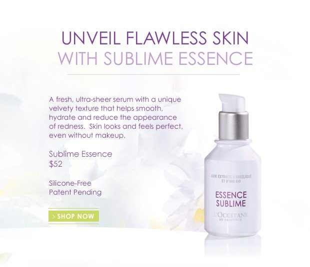 A fresh, ultra-sheer serum with a unique velvety texture that helps smooth, hydrate and reduce the appearance of redness.  Skin looks and feels perfect, even without makeup.  $52 Silicone-Free   Patent Pending
