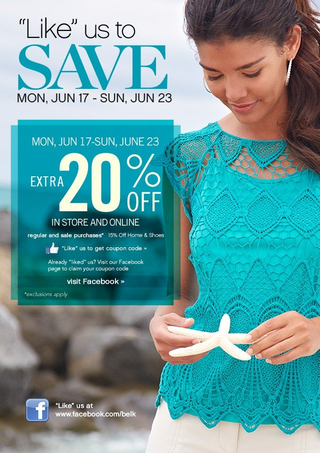 Like us to save! Extra 20% off. Mon, June 17 - Sun, June 23. Visit Facebook.