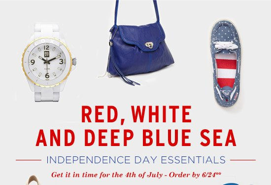 Red, white and deep blue sea. Independence Day Essentials. Get it in time for the 4th of July - Order by 6/24