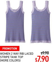 WOMEN LACED STRIPED TANK