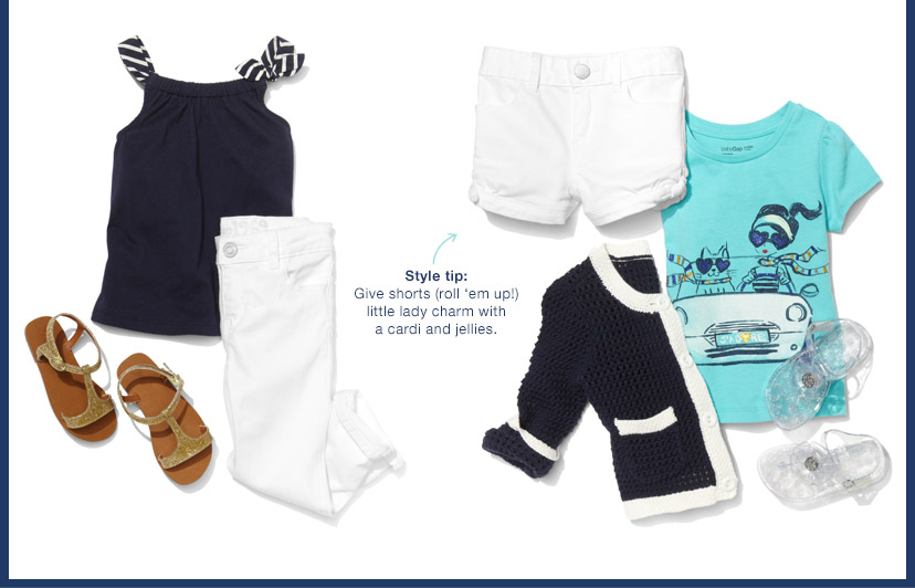 Style tip: Give shorts (roll 'em up!) little lady charm with a cardi and jellies.