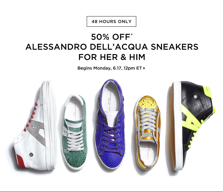 50% Off* Alessandro Dell'Acqua Sneakers...Shop Now