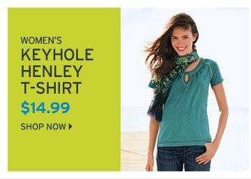 Smocked Keyhole Henley T-Shirt