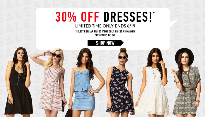 Deal Alert - 30% Off Dresses! Ends 6/19 - Shop Now